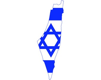 Awesome Israel Jew Jewish Jerusalem Europe European Country World National Nation  Flag Map Logo.SVG .EPS .PNG Clipart Vector Cricut Cut Cutting File