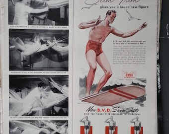 Surfin Dude 1940s BVD Swimsuit Illustrated Ad Red Shorts.  Hangin Ten Old Surfboard Design Fun Retro Ad art 13x10 HALF page. Ready Frame