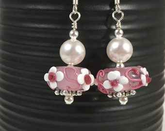 Pink and White Glass Lampwork Dangle Earrings, Swarovski Pearl Earrings, Lampwork Earrings