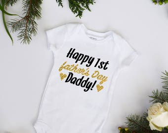 Happy First Fathers Day Daddy Gold and Black Glitter Bodysuit sparkle glitter bodysuit new daddy
