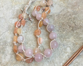 Knotted rose quartz and peach aventurine double stranded necklace with leather