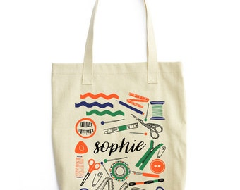 Personalized Gifts for Sewers, Gift for Seamstress, Personalized Bag, Personalized Tote, Monogram Tote, Sewing Tote, Sewing Gift, Sewer Tote