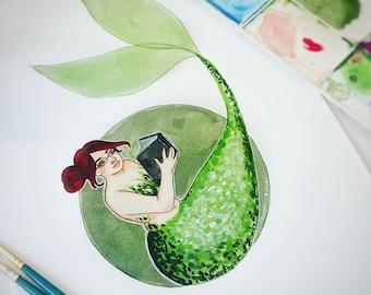Reading Mermaid Illustration - Original Piece