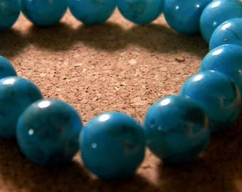 10 beads 10 mm glass speckled turquoise PE201 22