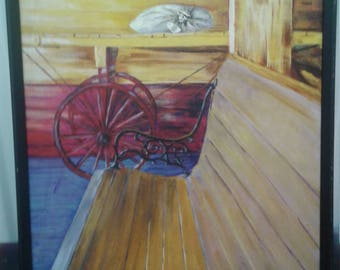 """Vintage  1973 Acrylic Painting/ """" The Depot"""" Laona, Wisconsin/Signed Gertrude Roberts"""