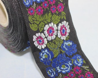 22 mm Blue Floral Embroidered ribbon (0.86 inches), Vintage Jacquard, Floral ribbon, Sewing trim, Jacquard trim, Jacquard ribbon, 22097