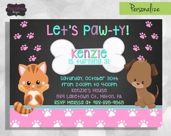 Cat and Dog Invite, Cat and Dog Birthday, Cat and Dog Party, Cat Birthday Invite, Dog Birthday Invite, Cat, Dog, Cat Party, Dog Party