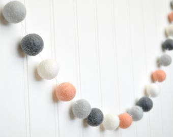 Peach and Gray Nursery Decor, Peach Felt Ball Garland, Peach and White Baby Shower Decor, Birthday Decorations, Gray Peach Nursery Garland
