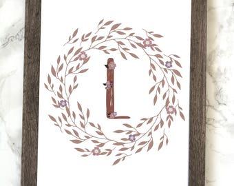 Monogram Letter L Printable, Floral Monogram Letter L Printable, Letter L Wall Art, Letter L Printable, Monogram Printable, Initial Print
