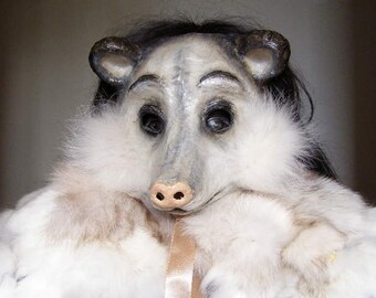 Masquerade Ball Mask Opossum Mask Virginia Opossum Animal Mask Scary Mask Paper Mache Mask Carnival Mask Adult Mask