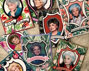 Golden Girls notecard set, Rose, Blanche, Dorothy, Sophia, blank cards