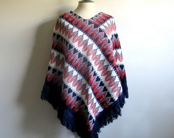Vintage 1980s Poncho Red White Blue Acrylic Woven Poncho with Fringe 80s Causal Cape