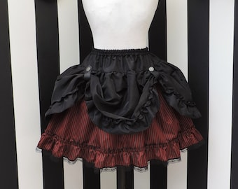 Gothic striped skirt, red black bustle, steampunk skirt, burlesque, pirate costume, gothic victorian clothing, masquerade, halloween, saloon