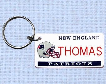 Personalized New England Patriots keychain - key ring