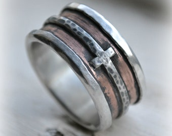 mens wedding band - rustic fine silver copper and sterling silver cross - handmade artisan designed wide band ring - manly ring, customized