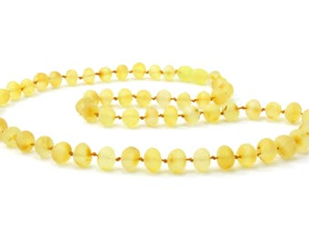 Amber Necklace for Adults, Raw Lemon, Available in 17.7-21.7 inches (45-55 cm) Length, Made from Unpolished Baroque Baltic Amber Beads