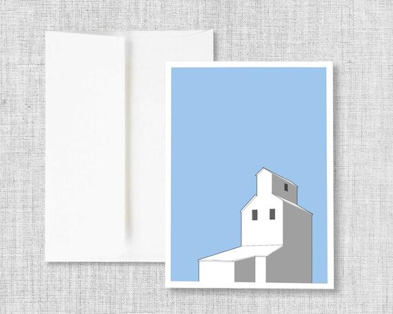 "greeting card, blank greeting card, greeting card set, greeting cards handmade, drawing, grain elevator, blue - ""Dreamy Blue Grain Elevator"""