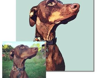Custom pet portrait lifelike colors - customize dog portraits - custom dog picture on canvas - personalized pet illustration
