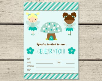 Fill-in Invitation - Teal Fairy Princess - Instant Download
