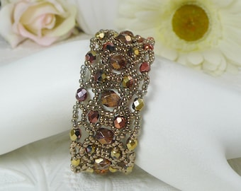 Woven Bracelet with Copper Czech Glass Gifts for Her