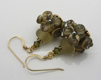 Lampwork Earrings Transparent Brown with Silvered Ivory Lampwork Earrings Glass Bead Earrings Dangle Drop Earrings Flower Earrings SRAJD