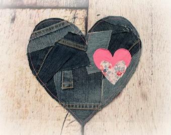 Pantalones vaqueros de nio hippie etsy large heart patch sew on applique hippie decoration do it yourself solutioingenieria Images