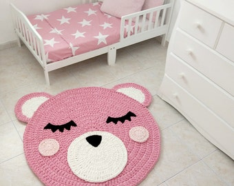 Bear Crochet Rug, Bear Rug, Handmade Crochet Rug, Kids Rug, Corchet Rug kids, girl nursery rug, pink rug, crochet carpet , doily rug