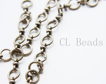 One Foot Oxidized Brass Hand Linked Chain-Ring 9x1.45mm (1806C02)