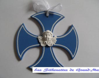 "Cross pattern ""Clothilde"" Angel, customize with a name, a date, a choice of colors..."