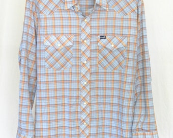 Plaid Wrangler Western Shirt Mens Extra Large Vintage Pearl Snap Cowboy Rodeo Blue Made In USA