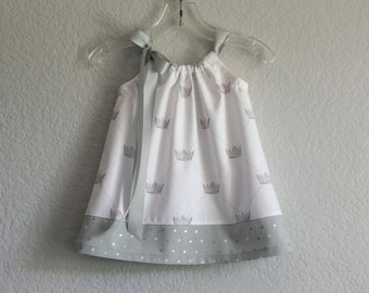 New! For Your Little Princess - White Dress with Grey Crowns - Baby Girls Pillowcase Dress with Bloomers - Size Nb, 3m, 6m, 9m, 12m or 18m