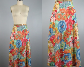 Vintage 1970s Cotton Skirt 70s Floral Print Skirt with Natural Twine Belt Size M Medium