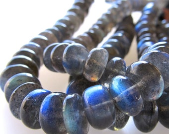 Blue Black Iridescent Labradorite Smooth Rondelles 10 X 6mm Rondelle Beads - AA Grade - 4 inch Strand