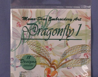 Momo-Dini Embroidery Art Dragonfly 1, 18 Embroidery Designs, NIP