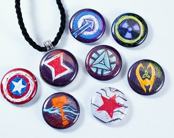 Avengers Necklace | Magnetic Avengers Necklace | Loki, Thor, Black Widow, Iron Man, Hawkeye, Captain America, Winter Soldier, The Hulk