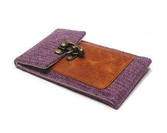 Smartphone wallet - plum vintage herringbone tweed