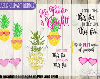 Printable | Clipart| Graduation | Pineapple | Future is Bright | Bundle