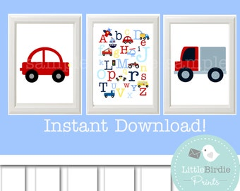 TRANSPORTATION Wall art for Nursery, Car Truck ABC Train Kids Room, Printable Instant Download SET of 3