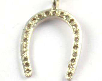 925 Sterling Silver Diamond Round +00 Sieve Size Gemstone Horse Shoe Pendant, Jewelry Pendant,Pave Diamond , Horse Shoe Design Pendant