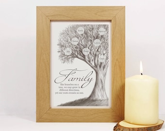Framed Personalised Family Tree Print | Family Tree Sign | Family Tree Wall Art | Family Gift | Family Quote | Hand drawn Digital print