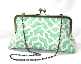 Clutch - Seafoam mint aqua and cream lattice fabric handbag - Brass kisslock frame with chain