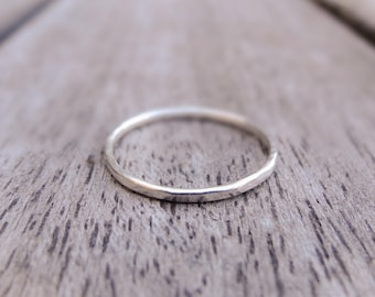 Thin sterling silver ring - skinny stacking ring, thin stackable ring, minimalist ring, simple silver ring, hammered silver ring, thin band