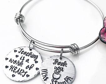 Personalized Teacher Bracelet, End of School Year Gift, Gifts for Teachers, Teacher Charm Bracelet, Teacher Gifts, Teacher Appreciation Gift