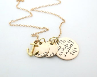 Sons are a Anchor - Mothers Necklace - Personalized Necklace - Anchor Charm - Sons Names - Personalized Jewelry - Engr