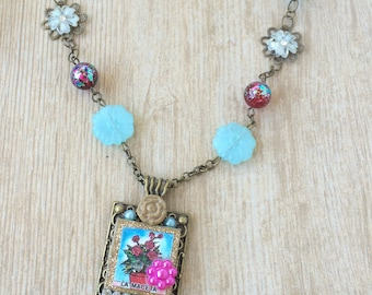 Loteria Flower Pendant Necklace, Mexican Rhinestone Floral Necklace