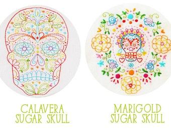 Embroidery Pattern Set: Calavera Skull and Marigold Sugar Skull