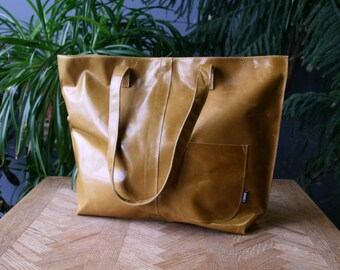 large leather tote bag, ready to mail