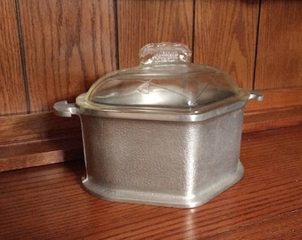 PRICE REDUCED / Guardian Ware Triangular Heart Shaped Roaster with Glass Lid / Hammered Aluminum / Vintage Guardian Service / 2 Available