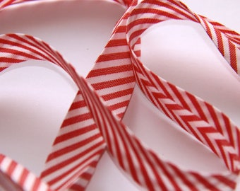 BIAS POLYCOTTON 18MM STRIPED RED AND WHITE
