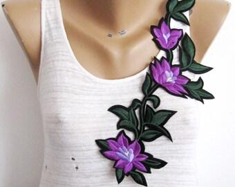 Iron on Mor Patch, Purple Flower Applique, Purple Patch, Heat Transfer,  Flower Patch Applique, Embroidered Patch,Branch Flower Appilque